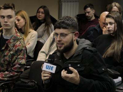 Питання до виступаючих від аудиторії, що зібралася 12 лютого 2018 року у стінах Києво-Могилянської академії. (Фото: Олександр Юрченко, UJE в Україні).