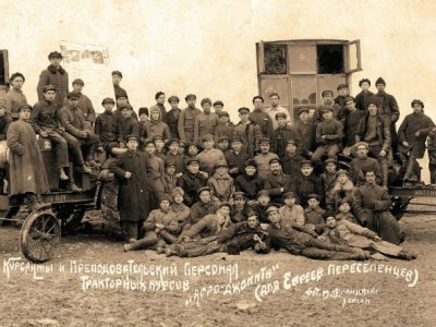 Students and instructors of tractor driving courses offered by Agro-Joint, Kherson, March 1926. Photo: M. Flantzweig. YIVO Institute for Jewish Research, New York