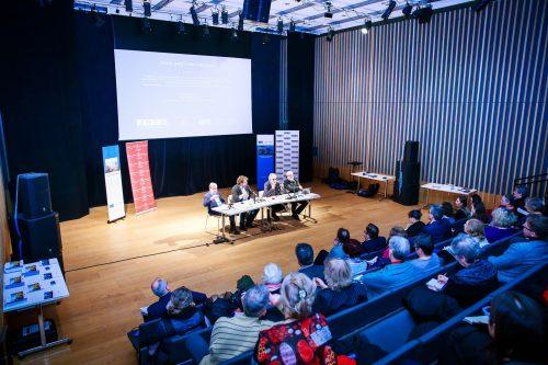 The impressive discussion hall at the Jewish Community Centre JW3, London.