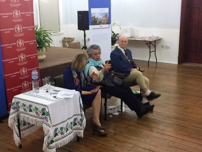 Marina Pesenti, Director, Ukrainian Institute London (left); Holocaust survivor Lili Stern-Pohlmann (center); UJE Board Member Wolf Moskovich (right).
