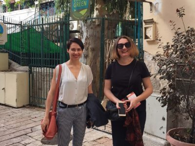 Ukrainian writer Sofia Andrukhovych (left) and Mariana Maksymiak, Director of the Agnon Literary Center (right) at Jerusalem's famed landmark, Tmol Shilshom. The literary café, which has been a favorite venue for many of Israel's legendary writers, shares its name with a novel by Buchach-born Nobel Prize-winning Hebrew writer S.Y. Agnon.