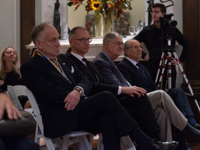 Left to right: The Honorable Ronald S. Lauder, President, World Jewish Congress; Borys Lozhkin, President, Jewish Confederation of Ukraine; Dr. Leon Chameides, Holocaust survivor saved by Metropolitan Andrei Sheptytsky; James C. Temerty, Board Chairman, Ukrainian Jewish Encounter.