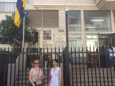 Mariana Maksymiak, Director of the Agnon Literary Center (left) and Ukrainian writer Sofia Andrukhovych (right) in front of the Ukrainian embassy in Tel Aviv.