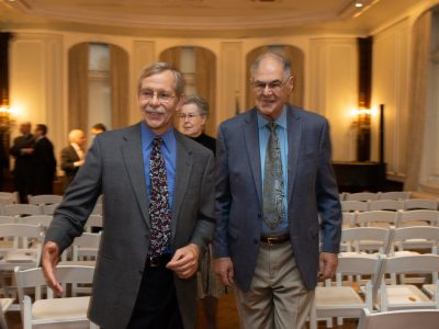 Alex Kuzma, Chief Development Officer, Ukrainian Catholic Education Foundation (left) and Dr. Leon Chameides, Holocaust survivor saved by Metropolitan Andrei Sheptytsky (right).