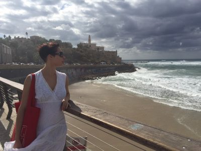 Ukrainian writer Sofia Andrukhovych at Jaffa, the old port described by S.Y. Agnon in his novels.