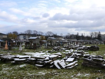 Recovered Jewish headstones at the Radekhiv cemetery last month. Photo © 2017 Jay Osborn.