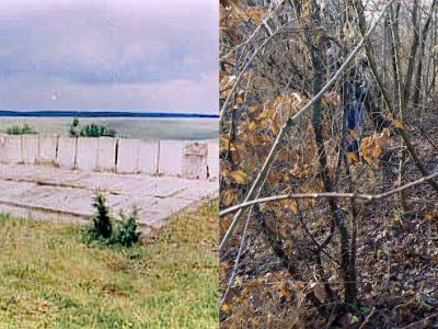 The mass grave memorial in the 1990s vs. this year. Photos © JewishGen and © 2017 Jay Osborn.
