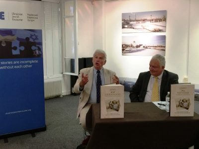 """Paul Robert Magocsi (left) and Philippe de Lara (right) at the Paris presentation of """"Jews and Ukrainians: A Millennium of Co-Existence"""" on September 9, 2017."""