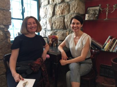 Mariana Maksymiak, Director of the Agnon Literary Center (left) and Ukrainian writer Sofia Andrukhovych (right) at Jerusalem's famed landmark, Tmol Shilshom. The literary café, which has been a favorite venue for many of Israel's outstanding writers, shares its name with a novel by Buchach-born Nobel Prize-winning Hebrew writer S.Y. Agnon.