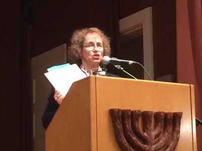 """Dr. Hava Tirosh-Samuelson, Director, Center for Jewish Studies, Arizona State University during the presentation of """"Jews and Ukrainians: A Millennium of Co-Existence"""" that took place at the Arizona Jewish Historical Society in Phoenix on 5 November 2018."""