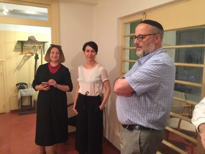 "Mariana Maksymiak, Director of the Agnon Literary Center (left); Ukrainian writer Sofia Andrukhovych (middle) and Rabbi Jeffrey Saks, Research Director at the Agnon House (right) before the Jerusalem presentation of ""The Key in the Pocket""."