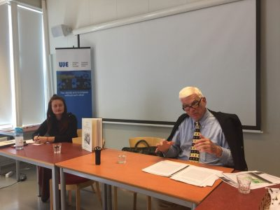 """Dr. Alina Zubkovych, Postdoctoral Research Fellow (left) and Prof. Paul Robert Magocsi (right) during the presentation of """"Jews and Ukrainians: A Millennium of Co-Existence"""" that took place at Södertörn University in Sweden on 8 May 2018."""