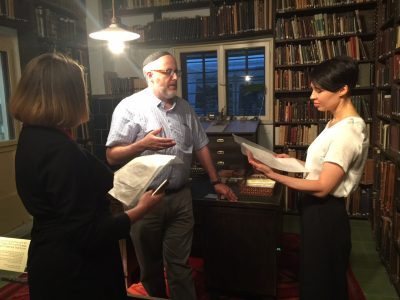 Mariana Maksymiak, Director of the Agnon Literary Center (left); Rabbi Jeffrey Saks, Research Director at the Agnon House (middle); and Ukrainian writer Sofia Andrukhovych (right) in the home of Buchach-born, Nobel-prize winning writer S.Y. Agnon.