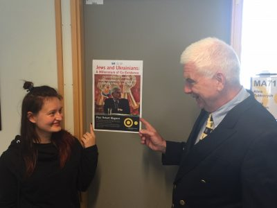 """Dr. Alina Zubkovych, Postdoctoral Research Fellow (left) and Prof. Paul Robert Magocsi (right) after the presentation of """"Jews and Ukrainians: A Millennium of Co-Existence"""" that took place at Södertörn University in Sweden on 8 May 2018."""