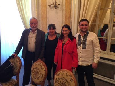 Josef Zissels, Head of the Association of Jewish Organizations and Communities of Ukraine (far left); Natalia A. Feduschak, Director of Communication, Ukrainian Jewish Encounter (second left); Kateryna Babkina, Ukrainian poet and writer (second right); Vladislav Hrynevych, Jr., Regional Manager Ukrainian Jewish Encounter (right). Lviv, September 13, 2017.