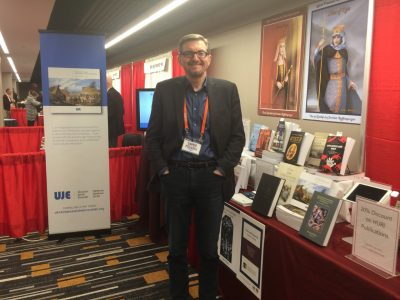 Serhii Plokhy, director of the Harvard Ukrainian Research Institute, at the HURI booth. He is also a UJE board member.