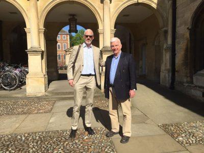 Prof. Rory Finnin Director of the Ukrainian Studies program at the University of Cambridge (left) and Prof. Paul Robert Magocsi in Cambridge on 7 May 2018.
