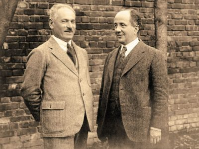 Joseph Rosen, director of Agro-Joint [American Jewish Joint Agricultural Corporation] (at left) and Boris Bogen, head of the Joint Program for Eastern Europe. [He was based in Moscow—Trans.], 1924. Archives of the Joint [American Jewish Joint Distribution Committee]