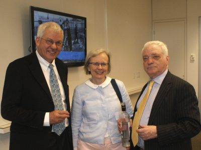 Exhibitions consultant Christine Lockett with John Lockett and UJE Board member Berel Rodal