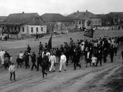 Demonstration at the Bukharindorf kibbutz, near Kryvyi Rih, 1920s.