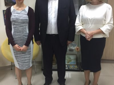 "Ukrainian writer Sofia Andrukhovych (left); Ambassador of Ukraine to Israel, Hennadii Nadolenko (middle); and Mariana Maksymiak, Director of the Agnon Literary Center (right) at the presentation of ""The Key in the Pocket"" at the Ukrainian Cultural Center in Bat Yam (Tel Aviv)."