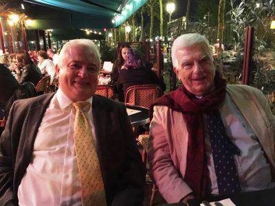 Philippe de Lara (left) and Paul Robert Magocsi (right) after the presentation at a Parisian café.