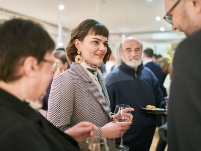 Sofia Cheliak, Program Director of Lviv International Book Fair and Literature Festival (left); Leonid Finberg, head of Ukraine's Dukh i Litra publishing house (right).