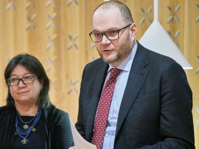 Natalia A. Feduschak, communications director for Ukrainian Jewish Encounter (left); Volodymyr Borodiansky, Minister of Culture of Ukraine (right);