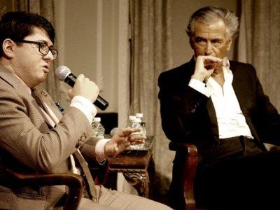 Vladislav Davidzon interviewing Bernard-Henri Lévy. Photo by Renay Morris.