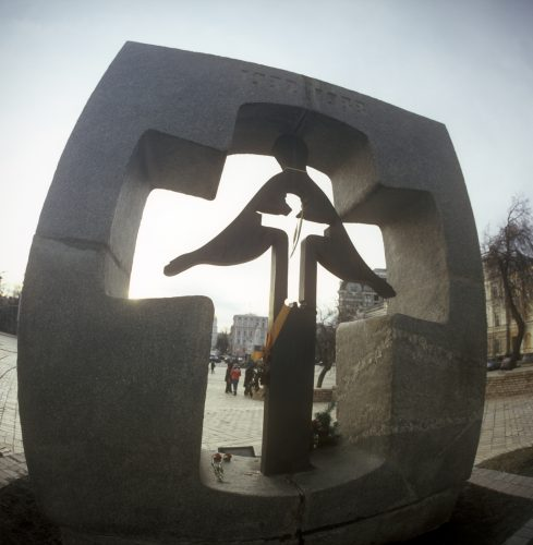 """""""For the millions of Ukrainians - victims of the famine-genocide of 1932-33"""" monument (autors - V. Peresvalsky and M Kysly). Mykhailyvska square, Kyiv, Ukraine. .Seven million ukrainians were starved to death in the breadbasket of Europe..At the same time the Soviet regime was dumping 1.7 million tons of grain on Western markets..The famine was engineered by the Soviet regime..It was an act of genocide designed to undermine the social basis of Ukrainian national resistance..At the height of the Famine, Ukrainian villagers were dying at the rate of"""