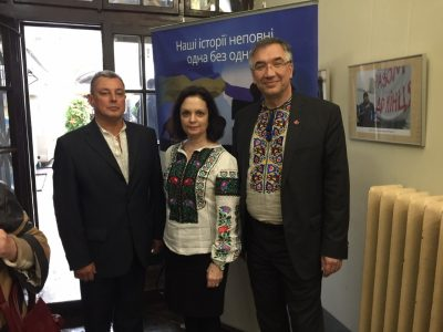 "Left to right: Roman Chmelyk, Director of the Lviv Historical Museum; Oksana Wynnyckyj, Canada's Honorary Consul in Lviv; and Roman Waschuk, Canada's Ambassador to Ukraine, at the opening of the exhibition ""A Journey Through the Ukrainian-Jewish Encounter: From Antiquity to 1939"" on 16 May 2019."