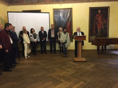"Berel Rodal, Board Member of the Ukrainian Jewish Encounter, at the opening of the exhibition ""A Journey Through the Ukrainian-Jewish Encounter: From Antiquity to 1939"" on 16 May 2019."