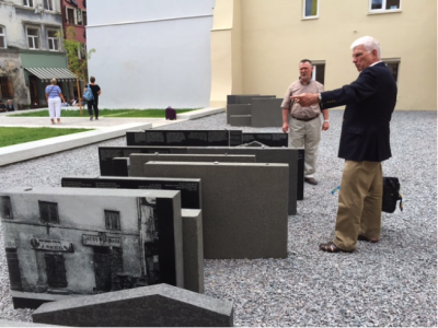 """Professor Paul Robert Magocsi and Vladyslav Hrynevych at the recently inaugurated """"Space of Synagogues"""" memorial site in Lviv, commemorating the 16th century Golden Rose synagogue destroyed by the Nazis during the Second World War"""