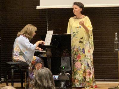 Nataliya Pasichnyk, Director, Ukrainska Institutet i Sverge (left) at musical presentation with classical singer Olha Pasichnyk.
