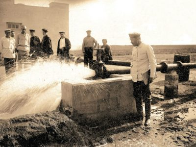 Start-up of an artesian well in Saky raion, Crimea, 1934. Archives of the Joint